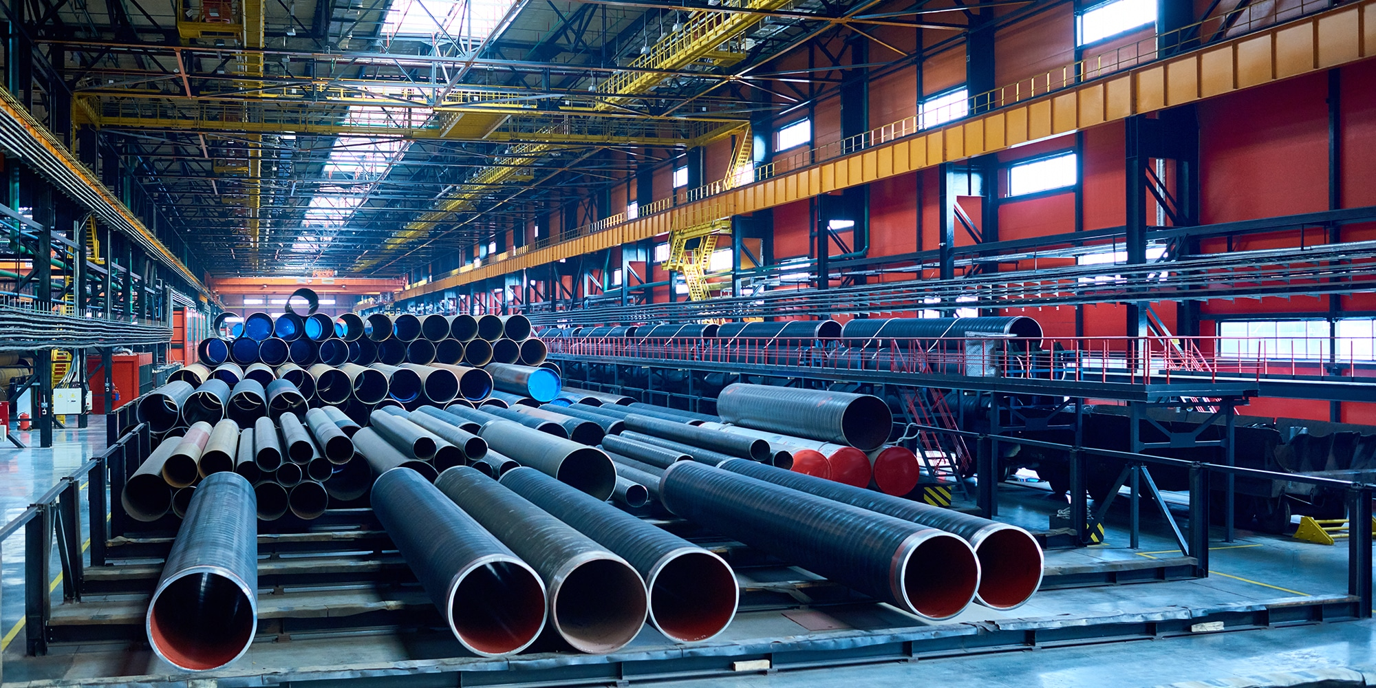 Warehouse with steel tubes stored